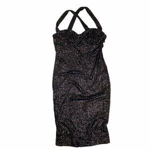 ASOS Sequin Dress LBD Black Crisscross